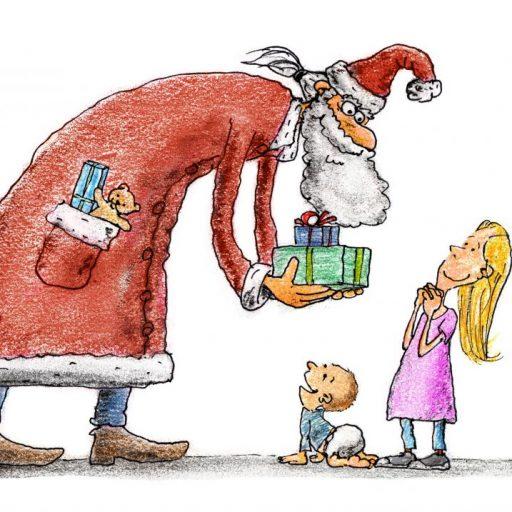 Дед Мороз дарит подарки детям. Ростов